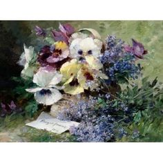 Pansies and Forget Me Not Poster Print by Albert-Tibulle Furcy de Lavault (11 x…