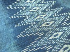 FREE SHIPPING! Handwoven Indigo Ikat Cotton Fabric / Boho Fabric / Laos Ethnic Home Decor / Tribal Tapestry / Natural Dye Indigo Ikat Cotton  Show some love and RePin!