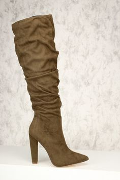 Sexy Olive Pointy Close Toe Slouchy Knee High Chunky Heels Boots Faux Suede