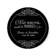 Monogram Favor Sticker | Eat, Drink & Be Married, www.zazzle.com