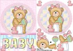 Cuddle Baby Bear Card Front and Decoupage