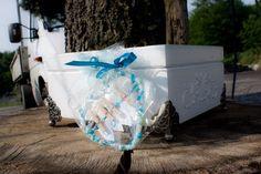 decoupage, decoupaj, szkatułka, pudełko, serce, miłość, biel, błękit, na urodziny,