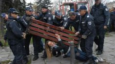 Civil disobedience. Obviously the police need a lot that bench.