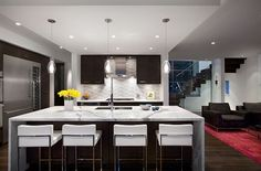♥♥♥♥♥ fabulous fridge - Modern kitchen remodeling with island as dining table: Kitchen Remodel: 101 Stunning Ideas for Your Kitchen Design