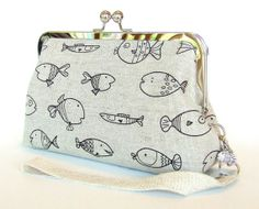 Linen Clutch  School of Goofy Fish with Wrist Strap in por FABbyCAB, $56.00