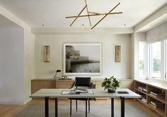 Home office with clean-lines and neutral palette // Catherine Kwong