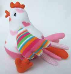 love heart sock bird by sunsetgirl creations, via Flickr Sewing Toys, Sewing Crafts, How To Make Socks, Silly Socks, Sock Crafts, Diy Crafts, Animal Rug, Sock Puppets, Sock Toys