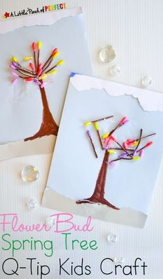 Spring Tree Flower Bud Kid Craft with Q-Tips -Kids can easily color the ends of q-tips and use them to make a cheery mixed media spring craft by lea Tree Crafts, Flower Crafts, Fun Crafts, Arts And Crafts, Crafts Cheap, Daycare Crafts, Diy Projects For Kids, Crafts For Kids To Make, Art For Kids