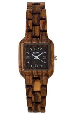 Summit - Ladies Square Wooden Watch