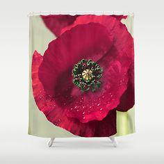 Buy Shower Curtains featuring Poppies(velvet). by Mary Berg.  #ShowerCurtain society6.com/... #showercurtains #society6 #crimson #elegant #purple #romantic #bathroom #textile #homedesign #life #poppy