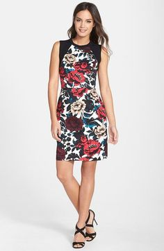 Adrianna Papell Floral Print Stretch Cotton Sheath Dress | Nordstrom
