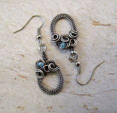 Sterling Silver earrings / Wire Wrapped Earrings / Wire Wrap Jewelry Handmade / Swarovski Crystal / Silver Jewelry / Spiral Woven Earrings by FearlessCreationsbyJ on Etsy