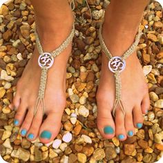 OHM Hemp Barefoot Sandals- Just in time for SUMMER- Jewelry for your feet via Etsy