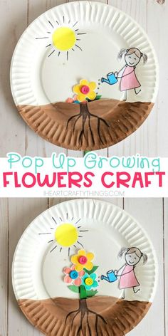 Paper plate growing flower craft for kids to enjoy for a spring craft. Easy craft for preschoolers and toddlers, watching their flowers grow out of the soil. # Easy Crafts for summer Paper Plate Growing Flower Craft Kids Crafts, Frog Crafts, Spring Crafts For Kids, Jar Crafts, Summer Crafts, Toddler Crafts, Preschool Crafts, Easter Crafts, Flower Craft Preschool