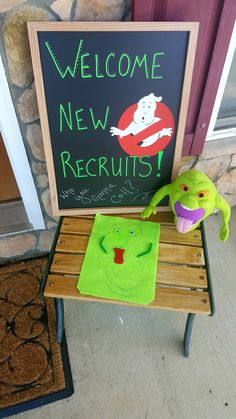 Chalkboard entry welcome (with kiddo's slimer creation and a plush)                                                                                                                                                                                 More