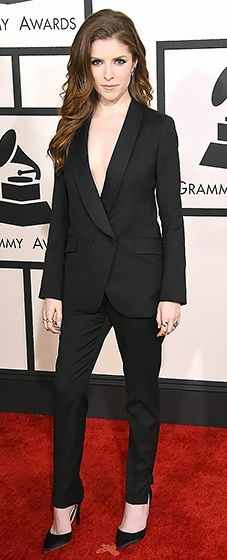 The Pitch Perfect actress went for straight sex appeal in a plunging Band of Outsiders blazer and pants.