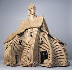 Vertigo Barn - Buildings - Gallery - John Brickels, Architectural Sculpture and Claymobiles, Essex Jct, Vermont Clay Houses, Ceramic Houses, Miniature Houses, Ceramic Clay, Ceramic Pottery, Pottery Houses, Architectural Sculpture, Cardboard Art, Ceramics Projects