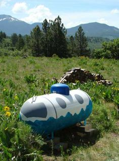 """Artist Sally Cruikshank isn't exactly a jet-setter but her hand-painted propane tank sure is and it's anything but """"plane"""". Better keep that tank filled with propane and not Red Bull – all it needs is wings and it's gone, man Propane Tank Art, Farm Art, Crafts To Do, The Rock, Grill Gas, Cool Art, Urban, Landscape, Project Ideas"""