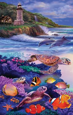 Dolphin Run - 1000 piece jigsaw puzzle. Finished size: 19 x 30. Artist: Steve Sundram. Released January 2013.Sunsout puzzles are 100% made in the USAEco-friendly soy-based inksRecycled boardsNot sold in mass-market stores