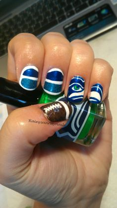 Seahawks nails! Go hawks!  Gonna get this done to my nails if the hawks go to the super bowl!