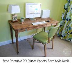 I have finally finished writing my printable DIY plans for making a Pottery Barn Style Farmhouse Desk like the… Diy Computer Desk, Diy Desk, Desk Plans Diy, Top Computer, Ikea Desk, Gaming Computer, Woodworking Desk Plans, Woodworking Supplies, Woodworking Shop