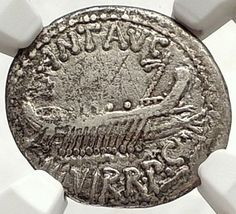 TheBattle of Actium was the decisive confrontation of the Final War of the Roman Republic. Ancient Roman Coins, Ancient Rome, Ancient History, Cleopatra, Battle Of Actium, Mark Antony, Roman Republic, Gold Stock, Ancient Mysteries