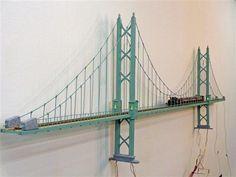 ho scale suspension bridge | My new Bridge - Model Railroading Layouts - Model Railroader - Trains ... #modeltrainlayouts #modeltrainbridges