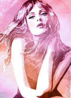 Watercolor Mixed Media Fashion Illustration Art Print