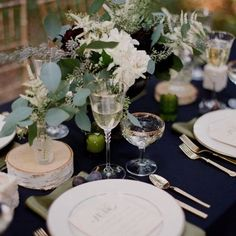 Navy and natives ... More the bride that love nature and the outdoors  #nature #outdoors #natives #nativeflowers #gumtree #eucalyptus #navy #tablesetting #tablescape #tablesetting #chargerplates #cutlery #champagne #champagneglass #flowers #white #weddingreception #weddingdecor #weddinginspiration #weddingideas #sydneyeventplanner #sydneyweddingplanner #eventplanner #weddingplanner #sydneywedding #helenaportia