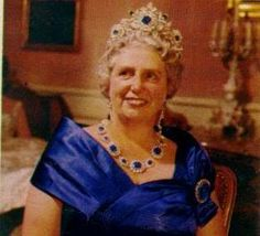 Rosa, Duchess of Werttemberg, nee Archduchess of Austria, wearing the huge sapphire tiara, part of a parure belonging to her husband's family
