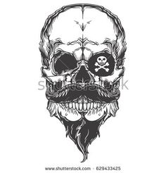 Monochrome illustration of pirate skull with mustache and beard. Isolated on white background. Vintage line art.
