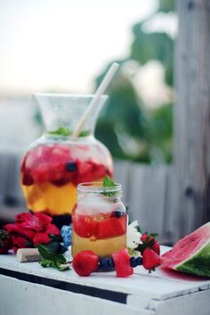 Red, White, & Blue Sangria For The 4th Of July The grill is fired up, good times are rolling,...