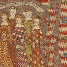 Embroidered tapestry detail late c., probably Hildesheim, Lower Saxony, Germany Medieval World, Medieval Art, Medieval Fashion, Medieval Clothing, Historical Art, Historical Costume, 14th Century Clothing, Medieval Embroidery, Rome Antique