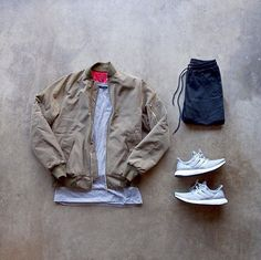 Bomber, simple tee, jeans and some adidas boosts