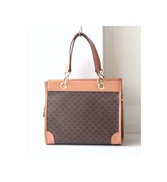 b477d057ced Celine Monogram Brown Leather Canvas Tote handbag authentic vintage purse  by hfvin on Etsy