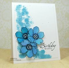 Snippets: Birthday in Blue sheetrock tape drug through ink and flowers also then cutout