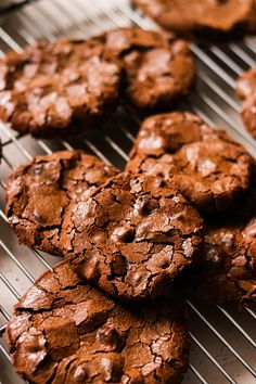 These are the most perfect paleo flourless chocolate cookies that are fudgy on the inside, with a wonderfully crispy top layer. So easy to make with just 5 ingredients, and they remind me of brownies! #paleo #paleodessert #grainfree #grainfreebaking #glutenfree #nutfreedessert #nutfreecookies #chocolatecookies Nut Free Cookies, Gluten Free Chocolate Cookies, Flourless Chocolate Cookies, Paleo Cookies, Chocolate Cookie Recipes, Paleo Chocolate, Baking Cookies, Cobbler, Fudge
