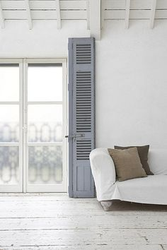 I love painted wooden floors! Here are some fun ideas that are inspiring me for our bedroom redo ……. Interior Architecture, Interior And Exterior, Interior Design, Interior Windows, Interior Styling, Style At Home, Interior Pastel, Painted Wooden Floors, Old Shutters