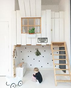 Stylish Scandinavian style indoor kids loft style playhouse. Dream children's bedroom/playroom idea.