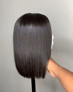 Short Straight Bob Virgin Human Hair Lace Front Wigs Thriving Hair Summer Pre-Plucked Short Straight Bob Virgin Human Hair Lace Front Wigs for black women Medium Bob Hairstyles, Summer Hairstyles, Wig Hairstyles, Straight Hairstyles, Natural Hairstyles, Short Punk Hair, Short Hair With Bangs, Short Hair Styles, Bob Black