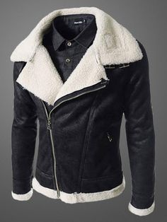 Men's Leather Jacket With Notch Collar