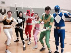 Dodge, Duck, Dip, Dive, and Dodge. We donned the Power Rangers outfits for a game of Dodgeball. How do we look? January 2014