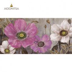 Ελαιογραφία 3D σε ασημένιο καμβά με strass 60x120 Από την Alphab2b.gr Tapestry, Flowers, Painting, Home Decor, Art, Products, Hanging Tapestry, Art Background, Tapestries