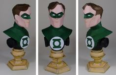 This cool decorative bust paper model of Green Lantern  was created by Brazilian designer and modeler Claudio Dias , from Paper Inside w...