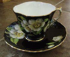 Aynsley Dogwood Black Gold Cup and Saucer Bone China England   eBay
