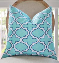 Turquoise Pillow  Decorative Designer Pillow  16 x by MotifPillows, $42.00