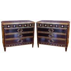 19th C Black Russian Commodes With Hand Hammered Brass Inlay | 1stdibs.com