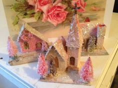 Pinky's Mica Snow Pink Shabby Antique Christmas Putz House Church Bottle Brush