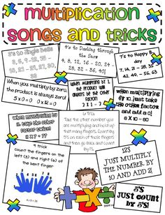 """Great songs and tricks poster for learning multiplication!...... (just watch out for the 12's there.... that is misleading.... should be """"multiply the number 10 and multiply the number by 2 and add together"""""""