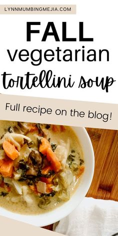 This Fall Vegetarian Tortellini Soup is awesome for meal prep! The mushrooms and kale bring out the earthiness. The sweet potato gives you a sweet bite. The celery, vegetable broth and seasonings bring out the savoury. The heavy cream and cheese tortellini tie everything all together to make this soup really decadent and creamy! 🥣 Full recipe on how to make this Fall Vegetarian Tortellini Soup on the blog! #tortellinisoup #fallrecipes #fallsoup #souprecipes #cozysoup Fall Recipes, Soup Recipes, Quick Vegetarian Meals, Potato Vegetable, Cheese Tortellini, Sweet Potato, Food To Make, Meal Prep